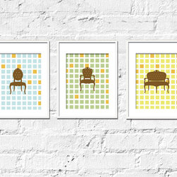 Vintage Chairs Art Prints - Vintage Seating Set of 3- 8x10 Inches - Modern and Vintage inspired chairs are so in. Now you can enjoy them with these fun and classy prints, that will add the right pop of color to your walls. The background adds a whimsical retro look and the chocolate colored chairs make it fresh and modern.