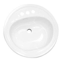 "BOOTZ INDUSTRIES - Lavatory Sink Round Steel 19"" White - Features:"