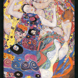 "Amanti Art - ""The Virgins (Sleeping Women)"" Framed with Gel Coated Finish by Gustav Klimt - Your eye will be drawn again and again to this intricate, sensual print by Gustav Klimt. Featuring two women intertwined in gorgeously colorful patterned quilts, the print is finished with a gel coating enhances its brilliance."