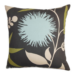 "The Pillow Collection - Huberta Floral Pillow Black Blue - Liven up your space with a splash of trend setting hues and beautiful patterns. This throw pillow is a perfect statement piece to add in your living room, bedroom or lounge area. A floral pattern in shades of blue, white and green create a lovely contrast with the black background. You can easily combine this 18"" pillow with other patterns. Made of 100% soft and plush cotton fabric. Hidden zipper closure for easy cover removal.  Knife edge finish on all four sides.  Reversible pillow with the same fabric on the back side.  Spot cleaning suggested."