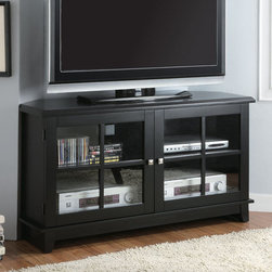 Monarch - Black Veneer Top 48in.L Corner TV Console - This corner TV console features a smooth surface, tapered legs, and specifically designed chamfered corners (side angles) that characterize contemporary decor. The flat top provides an ideal resting place for your TV, while beneath it there are shelves inside two glass doors that can hold electronic components, DVD's, or CD's. Simple brushed silver metal knobs contrast with the midnight black veneer finish to add to its appeal. Save space in your living room or bedroom with this corner unit and utilize that wasted corner space you never know how to fill.