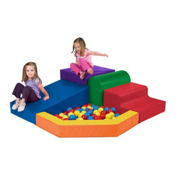 ECR4KIDS - ECR4KIDS SoftZone Primary Climber with Ball Pool Soft Play - ELR-0833 - Shop for Swings Slides and Gyms from Hayneedle.com! If your kids get excited when you tell them to its time to stand in the corner you must have brought home the ECR4KIDS SoftZone Primary Climber with Ball Pool Soft Play. Made from phthalate-free polyurethane in bright primary colors this exciting climber gives them steps slopes and a pit of balls get those motor skills working. The shape of this climber makes it an easy fit for any corner that needs some more fun. The ball pool features vinyl flooring to keep all the balls where they belong. Polyurethane foam is easy to clean and all surfaces are reinforced to handle years of climbing and jumping. This climber is recommended for children age 9 months to 3 years with adult supervision and with a weight limit of 200 lbs. About Early Childhood ResourcesEarly Childhood Resources is a wholesale manufacturer of early childhood and educational products. It is committed to developing and distributing only the highest-quality products ensuring that these products represent the maximum value in the marketplace. Combining its responsibility to the community and its desire to be environmentally conscious Early Childhood Resources has eliminated almost all of its cardboard waste by implementing commercial Cardboard Shredding equipment in its facilities. You can be assured of maximum value with Early Childhood Resources.