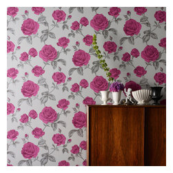 Graham & Brown - Countess Wallpaper - Beautifully depicted design with shimmering highlights, this romantic flourishing rose trail epitomises vintage-glamour.