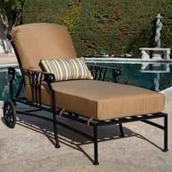 O.W. Lee Montrachet Chaise Lounge - Additional features:Seat height: 20 inchesWeight capacity: 450 lbs.Loveseat weight: 96 lbs.Back reclines for customized support2 wheels at the back offer easy mobilityComes fully assembledSunbrella cushions come with a 5-year fade warrantyProudly crafted in the U. S. A.Influenced by the elegant, sophisticated designs of European Renaissance, the Montrachet Chaise Lounge with Seat and Back Cushions shares its name with the famous wine region in France. Boasting graceful lines, generous proportions, scrolled armrests, and an intersecting arch-patterned back, this chaise lounge makes its presence felt in any setting. Crafted from the highest quality wrought aluminum, it's constructed from 100% aluminum fluted bars, hexagonal tubing, and pointed arch castings for generations of enjoyment. Offering the same durability and sturdiness as wrought iron, it's slightly lighter and easier to move around. The powder-coated Black Suede Finish will stand up to all types of weather and will retain its luster, even with minimum maintenance.The perfect way to unwind on a warm day, this chaise lounge's back reclines to offer customized lumbar support. The Sunbrella seat and back cushions, which are available in a choice of popular colors with black piping, let you relax in such comfort that you'll lose track of time. A charming addition to any outdoor seating area, the Montrachet Chaise Lounge is what makes summer worth waiting for!Due to the custom-made nature of this item, orders usually ship within approximately 5 weeks. Because each item is assembled just for you, orders cannot be cancelled. A 50% restocking fee will apply for returns.This item is custom-made to order, which means production begins immediately upon receipt of each order. Because of this, cancellations must be made via telephone to 1-800-351-5699 within 24 hours of order placement. Emails are currently not acceptable forms of cancellation. Thank you in advance for your consideration in this matter.Materials and construction:Only the highest quality materials are used in the production of O.W. Lee Company's furniture. Carbon steel, galvanized steel, and 6061 alloy aluminum is meticulously chosen for superior strength as well as rust and corrosion resistance. All materials are individually measured and precision cut to ensure a smooth, and accurate fit. Steel and aluminum pieces are bent into perfect shapes, then hand-forged with a hammer and anvil, a process unchanged since blacksmiths in the middle ages.For the optimum strength of each piece, a full-circumference weld is applied wherever metal components intersect. This type of weld works to eliminate the possibility of moisture making its way into tube interiors or in a crevasse. The full-circumference weld guards against rust and corrosion. Finally, all welds are ground and sanded to make a seamless transition from one component to another.Each frame is blasted with tiny steel particles to remove dirt and oil from the manufacturing process, which is then followed by a 5-step wash and chemical treatment, resulting in the best possible surface for the final finish. A hand-applied zinc-rich epoxy primer is used to make a protective undercoat against oxidation. This prohibits rust from spreading and helps protect the final finish. Finally, a durable polyurethane top coating is hand-applied, and oven-cured to ensure a long lasting finish.About SunbrellaSunbrella has been the leader in performance fabrics for over 45 years. Impeccable quality, sophisticated styling and best-in-class warranties prove the new generation of Sunbrella offers more possibilities than ever. Sunbrella fabrics are breathable and water-repellant. If kept dry, they will not support the growth of mildew as natural fibers will. Beautiful and durable, Sunbrella is a name you can trust in your outdoor furniture.About O.W. Lee CompanyAn American family tradition, O.W. Lee Company has been dedicated to the design and production of fine, handcrafted casual furniture for over 60 years. From their manufacturing facility in Ontario, California, the O.W. Lee artisans combine centuries-old techniques with state-of-the-art equipment to produce beautiful casual furniture. What started in 1947 as a wrought-iron gate manufacturer for the luxurious estates of Southern California has evolved, three generations later, into a well-known and reputable manufacturer in the ever-growing casual furniture industry.OW Lee has gained an award winning reputation not only for beautiful handcrafted casual furniture, but also for the durable quality of its products, makes a significant contribution to sustainability and the protection of the environment. OW Lee has always been respectful of the natural resources used in handcrafting outdoor furniture and recycles all steel and aluminum frames and scraps.