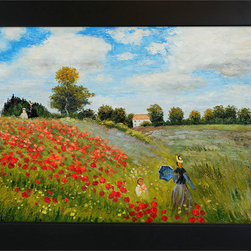 "overstockArt.com - Monet - Poppy Field in Argenteuil Oil Painting - 24"" x 36"" Oil Painting On Canvas Hand painted oil reproduction of a famous Monet painting, Poppy Field in Argenteuil. The original masterpiece was created in 1873. Today it has been carefully recreated detail-by-detail, color-by-color to near perfection. Why settle for a print when you can add sophistication to your rooms with a beautiful fine gallery reproduction oil painting? The famous field path of this northwestern suburb of Paris has been painted by many artists, but none capture the delightful moment of an afternoon stroll as Claude Monet does. In this amazingly colorful oil painting Claude Monet painted his wife and son strolling together among the poppies. While Monet successfully captured life's reality in many of his works, his aim was to analyze the ever-changing nature of color and light. Known as the classic Impressionist, Monet cannot help but inspire deep admiration for his talent in those who view his work. This work of art has the same emotions and beauty as the original. Why not grace your home with this reproduced masterpiece? It is sure to bring many admirers!"