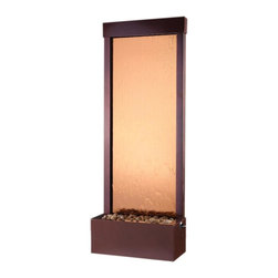 BluWorld of Water - Dark Copper Fountain - Suitable for indoor and outdoor use. Tempered glass panel. Polished river rocks. Quiet submersible pump. No assembly required. 18 in. W x 8 in. D x 48 in. H (28 lbs.)Bronze mirror and rear mounted Dark Copper frame. With the Gardenfall, it's easy to enjoy the soothing sights and sounds of water falling gently passed polished river rock year-round. Designed for today's decors, its clean, contemporary design enriches any space, while its humidifying and air-cleansing properties promote a healthier living environment. Features a bronze mirror surface and Dark Copper frame. Quiet operation and durable materials make the Gardenfall suitable for both indoor and outdoor use.