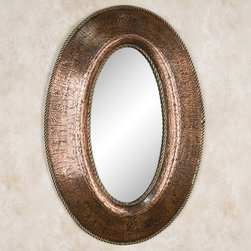 Petite Oval Lightly Hammered Copper Mirror with Brass Accents - Antique Copper - This Antique Copper mirror features a rustic, lightly hammered frame with braided brass accents. Adding both style and sophistication to your home, this petite mirror can be mounted vertically or horizontally.
