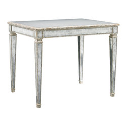 Lillian August - Lillian August Ashburn End Table LA95324-01 - Aged gold edge banding on the tapered legs and aproned top provide exquisite detail to this classic end table. Aged mirrored panels and an eglomise top.