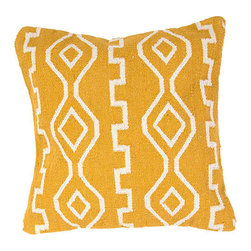 Jaipur - Cadiz Mango 18-Inch Decorative Pillow - - Hand woven from 100% cotton the Cadiz pillow collection offers a range of open geometrics in bold color combinations. The collection coordinates with Jaipur Maroc and Urban bungalow flat weave rugs      - Care Instructions: Remove the throw pillow's cover if it is removable. Wash the cover separately from the pillow. Pre-treat badly soiled or stained areas on the pillow cover with a color-safe prewash spray. Rub the spray into the stain with a damp sponge. Wash the pillow cover or the whole pillow on a gentle-wash cycle in warm water with a very mild detergent. Detergent for delicate fabrics or baby clothes is usually suitable. Remove the pillow or pillow cover as soon as the washing machine has ended the cycle and has shut off. Hang the pillow or cover up to dry in a well-ventilated area. If the care label specifies that the item is dryer-safe place the pillow or pillow cover in the dryer and tumble dry on low heat. Fluff the pillow once it is dry in order to maintain its form. Don't use the pillow until it is completely dry. Damp pillows will attract dirt more easily. Jaipur - PLC100917