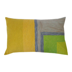 JITI - Small Chains Stitch Green and Yellow Pillow - Go abstract. The bright yellows and greens and modern geometric pattern of this feather and down-filled cotton pillow will beautifully coordinate with your contemporary decor.