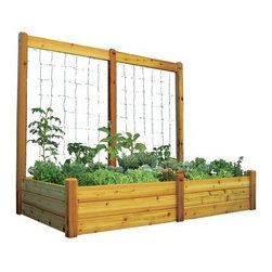 Gronomics 48L x 95W x 19H in. in. Raised Garden Bed with Trellis Kit - The Gronomics 48L x 95W x 19H in. in. Raised Garden Bed with Trellis Kit lets you create a garden that expands your growing options. This attractive kit includes a modular raised bed and trellis addition for versatile gardening. Its cedar construction makes it naturally resistant to weather, insects, and mold. Easy to assemble, this combo lets you plant climbing vines and veggies while the raised bed reduces the need for weeding and soil amending. Just assemble, fill, and give your green thumb a workout this season!About GronomicsWith Gronomics, you no longer need a big yard to do your gardening. The Minnesota-based company manufactures unique, ergonomically designed 100% Western Red Cedar garden planters that offer tool-free assembly. Gronomics makes everything from elevated beds, raised beds, planter benches and much more, all of which are designed to make gardening easy and more accessible for all ages. Herbs, vegetables and flowers can all be tended to while standing or sitting and the company's unique designs even allows easy access for those in wheelchairs.