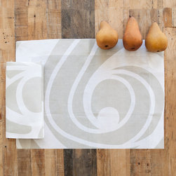 Huddleson Linens - Sloan Champagne Swirl Linen Placemat (Set of Four) - Huddleson Linens - Champagne and white linen placemats. Swirling, fluid two-color print grows, shrinks, curves and circles - but never ends. Gives a beautiful flow and depth to your table decor. Champagne-taupe and white linen placemats. 100% top quality, luxurious, soft Italian linen. Machine washable