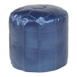 Howard Elliott Shimmer Sapphire Tall Pouf Ottoman - Our Pouf Tall Ottomans are a great add on to any decor. They work as a Tall rest or extra seating. They are filled with polyester fiber and recycled EPS filler. Cover is 100% polyurethane metallic faux leather and removable for easy care.