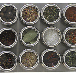 Large Magnetic Spice Board - This magnetic spice board is a great, attractive way to store spices in a kitchen which is desperate for storage.