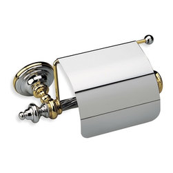 StilHaus - Classic-Style Brass Toilet Roll Holder with Cover, Chrome and White - Toilet roll holder with cover made of brass.