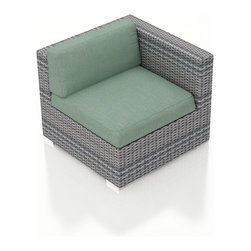 Harmonia Living - Urbana Wicker Modern Right Arm Chair, Weathered Stone Wicker,  Spa Cushions - The Urbana Outdoor Wicker Right Arm Facing Chair with Turquoise Sunbrella Cushions (SKU HL-URBN-RAS-SP) is the perfect starting or end point for building your own stylish Urbana Sectional. Made with High-Density Polyethylene (HDPE) wicker, a fade-resistant color is designed to withstand the elements. The section is constructed with a sturdy, thick-gauged aluminum frame, protected with a powder coating for even greater corrosion resistance. The seats are also reinforced to provide support and prevent excessive wicker stretching from repeated use. Both seat and back cushions are included, with your choice among four fade- and mildew- resistant Sunbrella fabric options.
