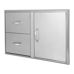 Blaze Outdoor Products - Blaze 32-inch Stainless Steel Access Door and Double Drawers - The Blaze Door and Drawer combo features an ideal access size for an island and an outdoor kitchen. Commercial grade 304 stainless steel construction stands up to the outdoor elements.