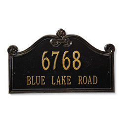 """Frontgate - Customizable Lancaster Estate Wall Plaque - Rust-free cast aluminum. Heavy-duty powdercoated finish. Includes wall-mount hardware or in-ground stake. Line 1 holds up to five 4"""" numbers. Line 2 holds up to seventeen 1-3/4"""" characters. Our elegant Customized Lancaster Address Plaque can be personalized with a single or double line—up to five numerals on the first line and 18 letters on the second line. Available in standard or estate sizes, wall or lawn mounts, and three heavy-duty powdercoated finishes.  .  .  . . . Minor assembly. Please check for accuracy; personalized orders cannot be modified, cancelled, or returned after being placed."""