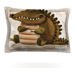 "Kess InHouse - Rachel Kokko ""Smiley Crocodiley"" Tan Green Pillow Sham (Cotton, 40"" x 20"") - Pairing your already chic duvet cover with playful pillow shams is the perfect way to tie your bedroom together. There are endless possibilities to feed your artistic palette with these imaginative pillow shams. It will looks so elegant you won't want ruin the masterpiece you have created when you go to bed. Not only are these pillow shams nice to look at they are also made from a high quality cotton blend. They are so soft that they will elevate your sleep up to level that is beyond Cloud 9. We always print our goods with the highest quality printing process in order to maintain the integrity of the art that you are adeptly displaying. This means that you won't have to worry about your art fading or your sham loosing it's freshness."