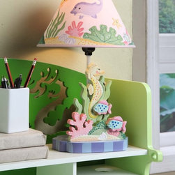 Fantasy Fields - Under The Sea Table Lamp - Canvas shade and durable wooden construction, designed by Teamson Design Corp.