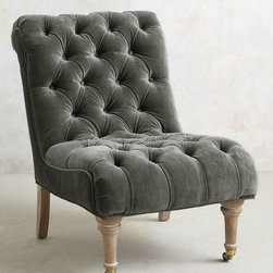 Orianna Chair, Slate - Simple and elegant, this chair would fit in just about anywhere. The soft gray velvet is so lovely.