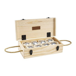 Jaques Alloy 8 Boule Bocce Ball Set with Wooden Box, Petanque - Have you heard? Bocce ball is back — and in a big way! This heavy duty set of metal bocce balls comes clad in a natural pine box to ensure nothing goes missing. After all, you can't throw a raging successful patio party without entertaining games.