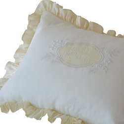 Taylor Linens - Good Morning Cream & White Linen Standard Sham - You can wake up and go to bed every day on the right side of the bed with one of these sweet pillow shams. It's made from buttercream and white linen and features a frilly ruffle and a finely embroidered center shield with flowers and a cheerful message. A good morning or night is practically guaranteed.
