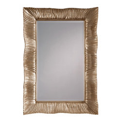 """Inviting Home - Carved Wood Framed Mirror - Carved wood mirror with silver decape finish 35-1/2""""W x 3""""D x 51-3/4""""H hand-crafted in Italy Carved wood mirror with shell design silver decape finish and beveled glass. This mirror can be hung horizontally or vertically. This mirror is hand-crafted in Italy."""