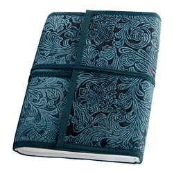 """Sitara Collections - Embossed Cruety-Free Leather Journal with Handmade Paper (6"""" X 8"""") - Ome of Lifes Simple indulgences, this Extraordinary Journal Will Prompt Even Those Who are new to Journaling to Dive Right in. the Outside is Covered in Luscious Sapphire Leather Embossed with Swirls of Lighter Blue, While the inside Features Lavishly Handmade Paper. our sophisticated Journal Will Spoil You for all Others!."""