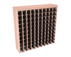 100 Bottle Deluxe Wine Rack in Redwood with White Wash Stain - This wooden wine rack functions well as either a freestanding wine rack furniture or as part of a complete wine cellar design. Solid top and side enclosures promote the cool and dark storage area necessary for aging your wine properly. Your satisfaction and our racks are guaranteed.