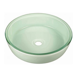Pegasus - Fused Vessel Sink - GVF133WT - Manufacturer SKU: GVF133WT. Less drain and overflow. Made from tempered glass. 16.5 in. Dia. x 4.5 in. H (20 lbs.)