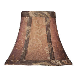Lite Source - Chocolate Burgundy Bell Chandelier Lampshade - Choco-Burgundy Shade with Gold Roses Cascading down the shade with a Shimmering Gold Overtone across the entire shade