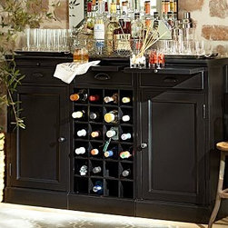 """Modular Bar Buffet, 2 Cabinet Bases & 1 Wine Grid Base, Black - A stylish alternative to built-in cabinetry, the Modular Bar Buffet organizes, stores and displays your entertaining essentials. 54"""" wide x 13.5"""" deep x 36"""" high Crafted of mahogany, hardwood and mahogany veneers. Set includes 1 Wine Grid Base and 2 Cabinet Bases. Each wine-grid base accommodates 24 bottles. Each base has a breadboard pullout and a drawer for accessories. Wood swatches, below, are available for $25 each. We will provide a merchandise refund for wood swatches if they're returned within 30 days. Catalog / Internet Only. View our {{link path='pages/popups/fb-dining.html' class='popup' width='480' height='300'}}Furniture Brochure{{/link}}."""