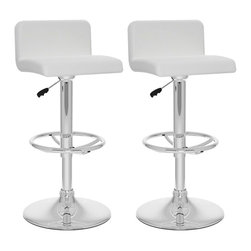 Sonax - Sonax CorLiving Low Back Bar Stool in White Leatherette (Set of 2) - Sonax - Bar Stools - B317UPD -Add spice to any bar or kitchen island with the Bar Stool featuring a comfortable padded seat with a stylish low backrest. Finished in White soft leatherette upholstery with a chrome foot rest, chrome gas lift and chrome base, this bar stool easily adjusts to variable bar heights to suit your dining needs. A great addition to any home!