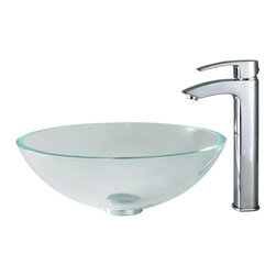 Kraus - Kraus C-GV-100-12mm-1810CH Crystal Clear Glass Vessel Sink and Visio Faucet - *Add a touch of elegance to your bathroom with a glass sink combo from Kraus
