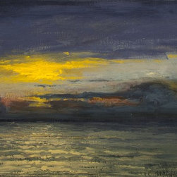 Too Early? Artwork - This is a nature oil painting of an ocean view at dawn. Painted on linen canvas.  The artwork is medium size. Mounted on light duty wooden stretcher bars.