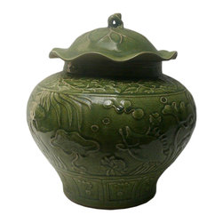 "Golden Lotus - Chinese Green Crackle Ceramic Fish Pond Pattern Pot - Dimensions:  Dia 15""x  h16"""