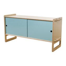Housefish - Key Modular Storage, Maple, Medium, Light Blue Doors - Single Key module with medium ...