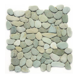 Glass Tile Oasis - Turquoise Pebbles and Stones Green River Rock Tiles Tumbled Natural Stone - During manufacturing, the pebbles are hand sorted into like colors and sizes and individually glued onto mesh backing. As a result, product will vary in size, shape and color. Colors represented online may not show full range of variation. It is not unusual to find occasional imperfections, veins and lines of separation within the pebbles. This variation is considered to be a desired feature in the product.