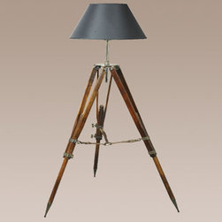 Authentic Models - Campaign Tripod Lamp - Campaign Tripod Lamp is available in either cream or black shade options. One 150watt, 120 volt medium base incandescent bulb or one 14-watt compact fluorescent bulb is required, but not included. Dimensions: 31.5 inch width x 50.25 inch height. Height is adjustable. UL/CE approved.