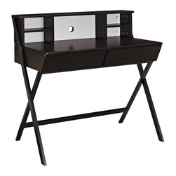 Modway - Trove Office Desk - This Trove desk is the perfect addition to any home,office or bedroom,featuring a dark walnut finish and sleek lines. The hutch features four convenient storage compartments and a hole to feed any cords through,keeping your space neat and organized.