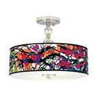 Chrome Paintbox Drum Shade Semi-Flush Ceiling Light