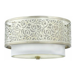 Quoizel Two-Light Josslyn Medium Flush Mount Ceiling Light, Brushed Nickel - The modern flowers adorning this ceiling light would look fun in a teen girl's room.