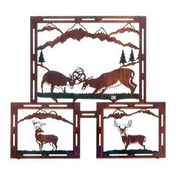 "Lazart - Fighting Bucks Rustic Metal Wall Art 24"" - Fighting  Bucks  Rustic  Metal  Wall  Art  -  24          Fighting  Bucks  Rustic  Metal  Wall  Art  is  a  triptych  of  rustic  deer  scenes  displaying  majestic  bucks  individually  and  in  battle.  Self-framed  and  delicately  laser  cut,  this  rustic  metal  wall  art  is  given  a  hand  brushed  color  wash  to  enhance  the  rustic  scenery.  Finished  through  a  heat  transfer  process,  the  final  coating  offers  a  subtle  golden  glow  adding  warmth  and  depth  to  the  colors."