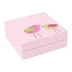 Wolf Designs - Puzzle box Birds - Pink - This children's jewelry box has a quilted beige cover with an embroidered pair of birds. Inside is an assortment of compartments that can be rearranged like the blocks of an actual puzzle box.