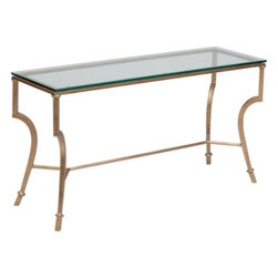 Syrah Console Table - Sometimes you need a console that mixes well with other feminine but elegant pieces in the room. Look no further than these curved legs, gilding and glass for a delicate touch.