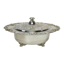 Lavish Shoestring - Consigned Large Silver Plated Bowl & Lid with Grapes Decoration, Vintage English - This is a vintage one-of-a-kind item.