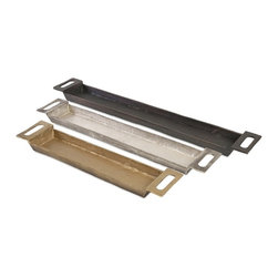 IMAX - Danny Slim Trays - Set of 3 - You can never be too thin or too richly finished. Witness this trio of slender metal trays in rustic gold, silver and black.