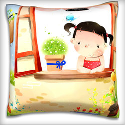 Custom Photo Factory - Portrait of Girl Looking Through Window. Polyester Velour Throw Pillow - Portrait of Girl Looking Through Window.
