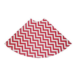 "5 Surry Lane - Red Zig Zag Holiday Tree Skirt - Designer Holiday Tree Skirt.  54"" Round.  Fully lined."